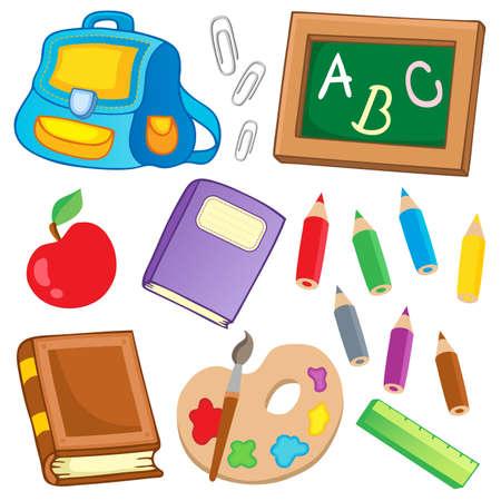 mochila escolar: Dibujos de la Escuela de recogida 2 - ilustración vectorial.