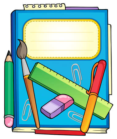 schoolbook: School notepad with stationery - vector illustration.
