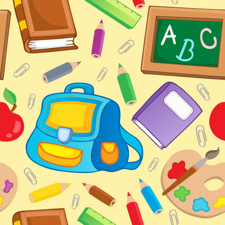 School theme seamless background 1 - vector illustration. Vector