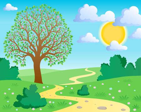 trails: Spring theme landscape 1 - vector illustration.