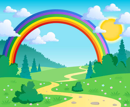rainbow scene: Spring theme landscape 2 - vector illustration. Illustration