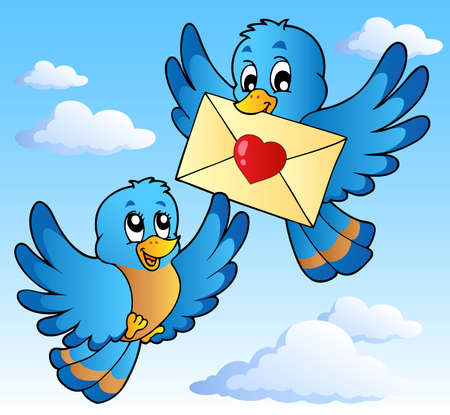 Two cute birds with love letter 1 - vector illustration.
