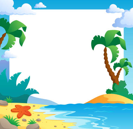 animal themes: Beach theme frame 1 - vector illustration  Illustration