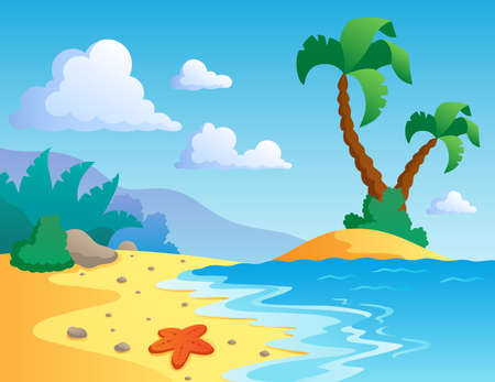starfish beach: Beach theme scenery 1 - vector illustration  Illustration