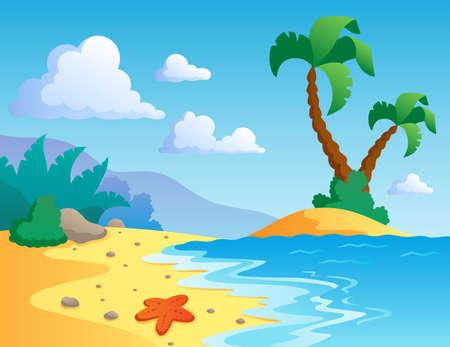 playa caricatura: Playa escenario el tema 1 - ilustraci�n vectorial