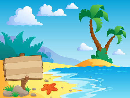 tranquil scene: Beach theme scenery 2 - vector illustration