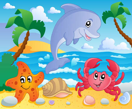 Beach theme scenery 3 - vector illustration  Vector