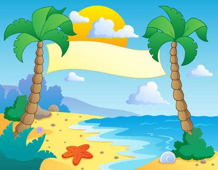 테마: 해변 테마 풍경 4 - 벡터 일러스트 레이 션 일러스트