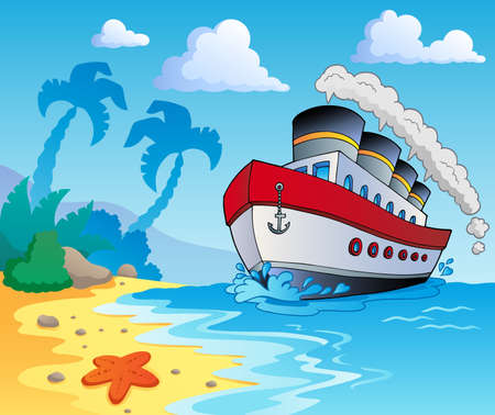 cartoon summer: Beach theme scenery 5 - vector illustration