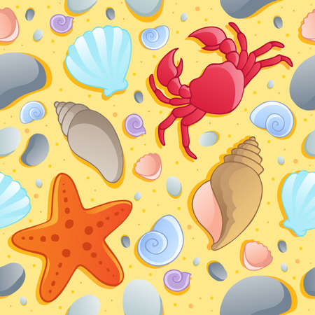marine crustaceans: Beach theme seamless background 1 - vector illustration