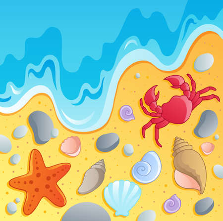 marine environment: Beach with shells and sea animals 1 - vector illustration