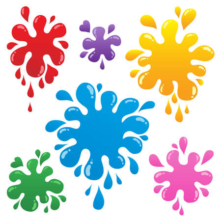 paint drips: Colorful ink blots collection 1 - vector illustration