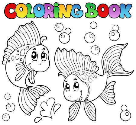Coloring book two cute goldfishes - vector illustration  Vector