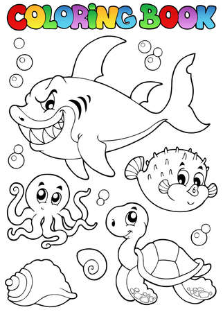 outline fish: Coloring book various sea animals 1 - vector illustration