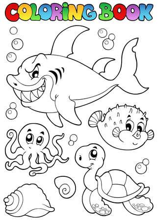 peces de agua salada: Dibujos para colorear animales marinos diversos libros 1 - ilustraci�n vectorial