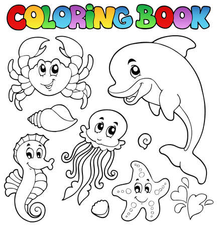 outline drawing of fish: Coloring book various sea animals 2 - vector illustration