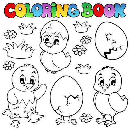 Coloring book with cute chickens - vector illustration