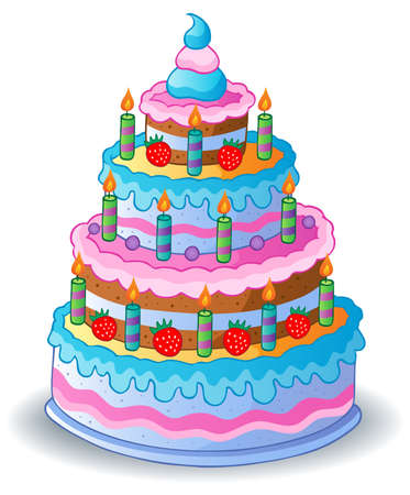 cartoon cake: Decorated birthday cake 1 - vector illustration  Illustration