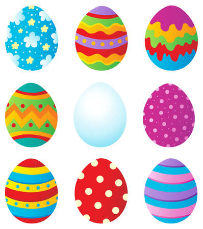 egg cartoon: Easter eggs collection 1 - vector illustration