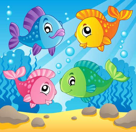 Fish theme image 1 - vector illustration