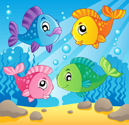 peces caricatura: Peces de la imagen el tema 1 - ilustración vectorial Vectores