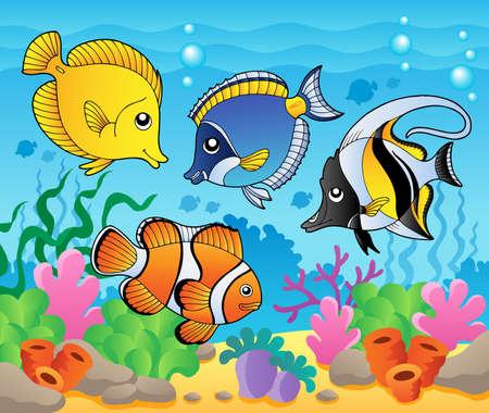 peces de agua salada: Tema de los peces de la imagen 3 - ilustraci�n vectorial Vectores