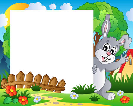 Frame with Easter bunny theme 1 - vector illustration  Vector