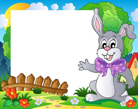 Frame with Easter bunny theme 2 - vector illustration