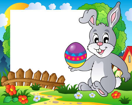 Frame with Easter bunny theme 3 - vector illustration  Vector