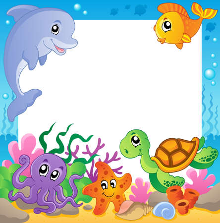 bottom of sea: Frame with underwater animals 1 - vector illustration
