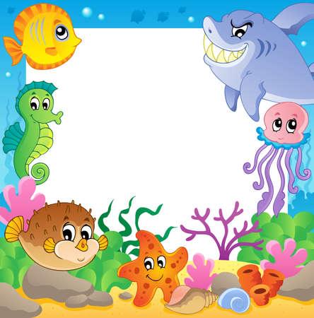 peces caricatura: Cuadro con los animales bajo el agua 2 - ilustración vectorial