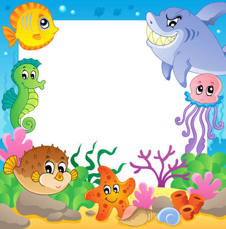Frame with underwater animals 2 - vector illustration  Illustration