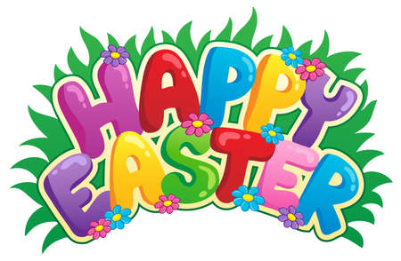 spring message: Happy Easter sign theme image 2 - vector illustration  Illustration