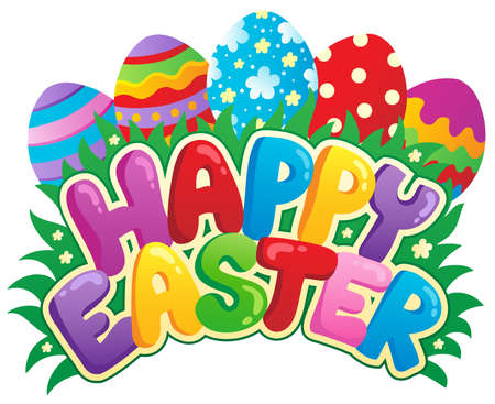 happy holidays text: Happy Easter sign theme image 3 - vector illustration