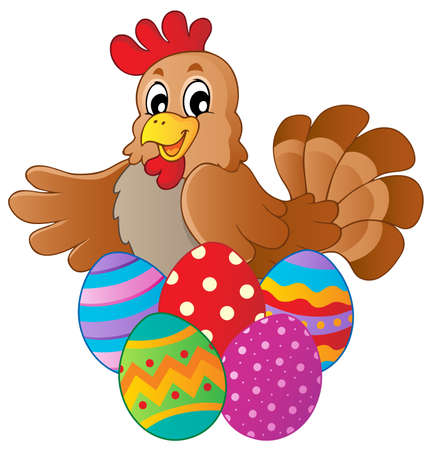 eggshells: Hen with various Easter eggs - vector illustration  Illustration