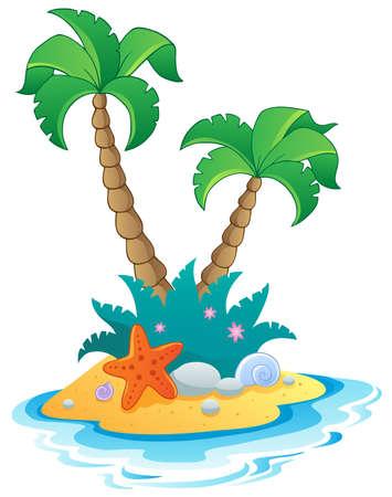seashore: Image with small island 1 - vector illustration  Illustration
