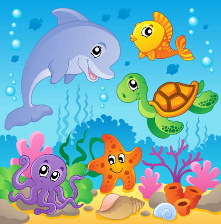 coral reef: Image with undersea theme 2 - vector illustration