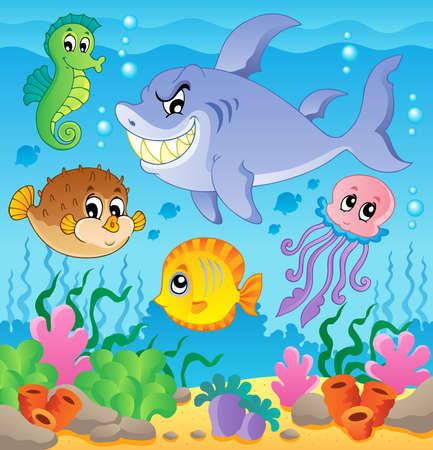 at the bottom of: Image with undersea theme 3 - vector illustration