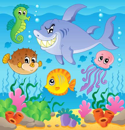 ecosistema: Imagen con el tema submarino 3 - ilustraci�n vectorial