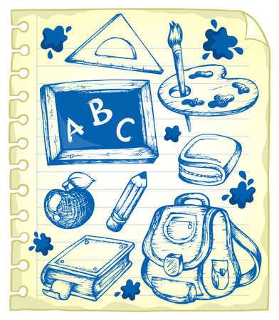 Notepad page with school drawings 1 - vector illustration  Vector