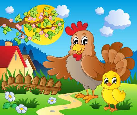 granja caricatura: Escena con el tema de la primavera la temporada 1 - ilustración vectorial Vectores