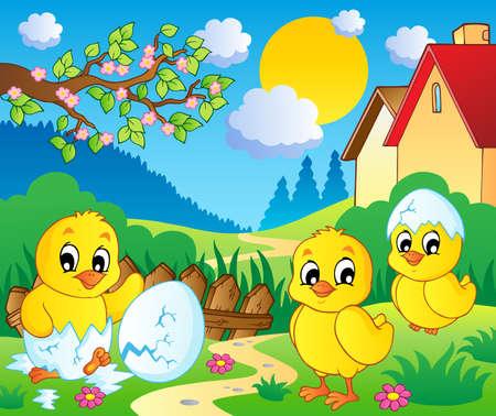 season: Scene with spring season theme 2 - vector illustration
