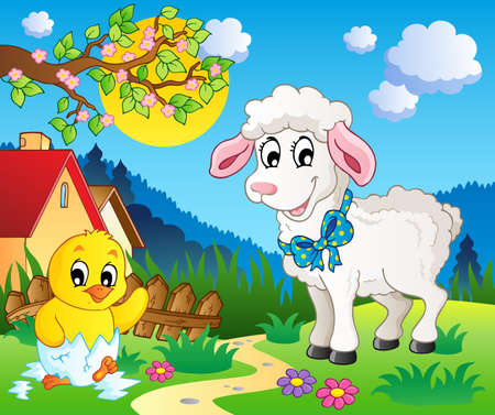 spring lambs: Scene with spring season theme 3 - vector illustration