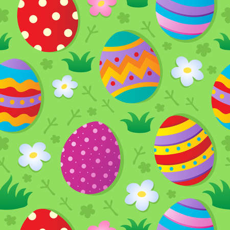 Seamless Easter theme background - vector illustration  Vector