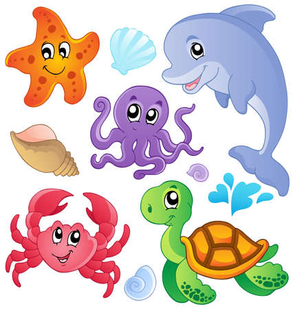 cartoon animal: Sea fishes and animals collection 3 - vector illustration  Illustration