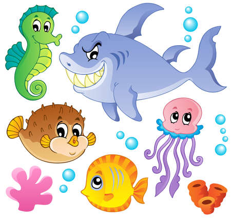 aquatic animal: Sea fishes and animals collection 4 - vector illustration
