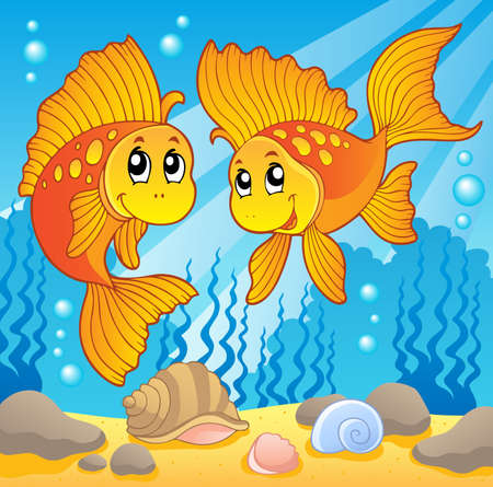 fauna: Two cute goldfishes - vector illustration