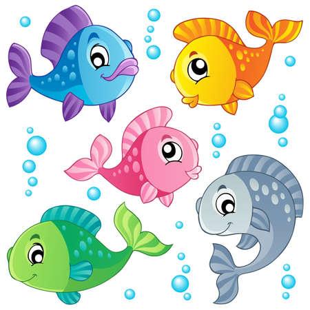 Diverse leuke vissen collectie 3 - vector illustratie Stock Illustratie