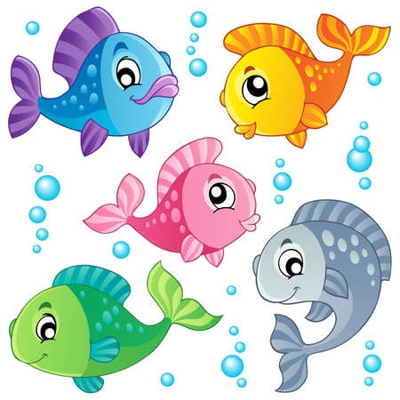 fish drawing: Various cute fishes collection 3 - vector illustration