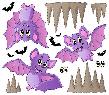 eyes cave: Cartoon bats collection - vector illustration